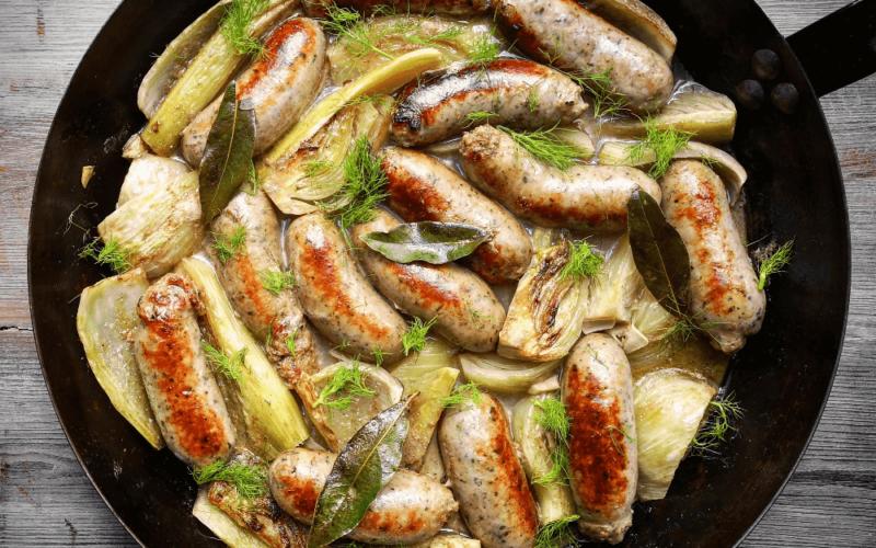 hepburns cumberland sausages and fennel braised in cider