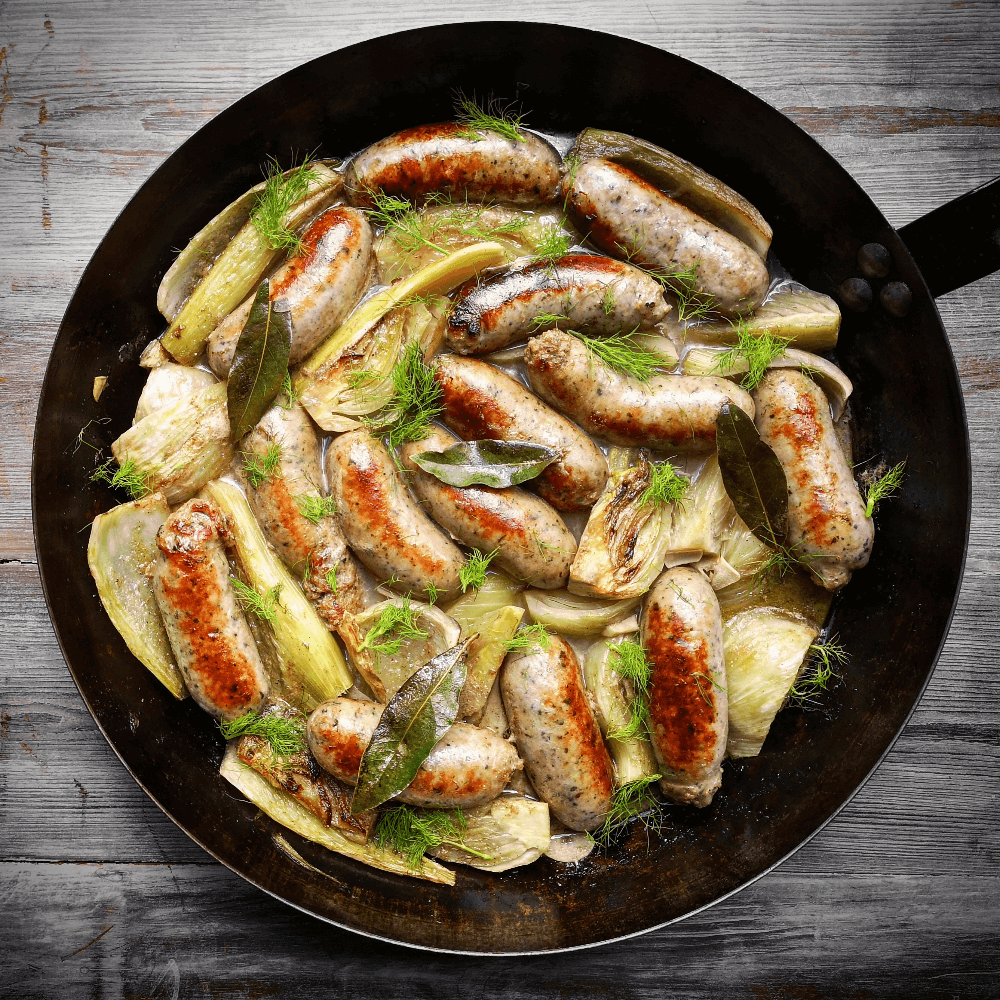 hepburns cumberland sausages and fennel braised in cider